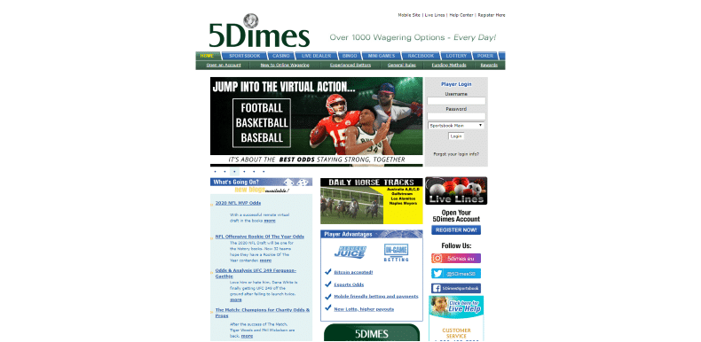 5Dimes Home Page