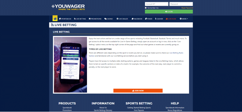 YouWager Live Betting